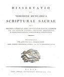 Dissertatio de versione hungarica scripturae sacrae (etc.)
