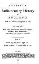 Cobbett s Parliamentary History of England  1688 1702