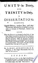 Unity In Trinity And Trinity In Unity A Dissertation