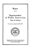 Report of the Superintendent of Public Instruction of the State of Arizona
