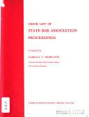 Check List Of State Bar Association Proceedings