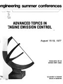 Advanced Topics in Engine Emission Control