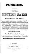 Vosgien. Nouveau dictionnaire géographique universel