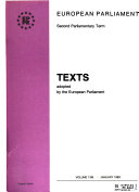 Texts Adopted by the European Parliament Book