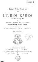 Catalogue des livres rares-romantiques et livres à figures du XIXe siècle composant la bibliothèque de M. Genard, de Grenoble