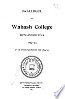Catalogue of Wabash College