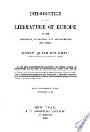 Introduction to the Literature of Europe in the Fifteenth  Sixteenth  and Seventeenth Centuries Book