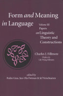 Form and Meaning in Language  Volume III