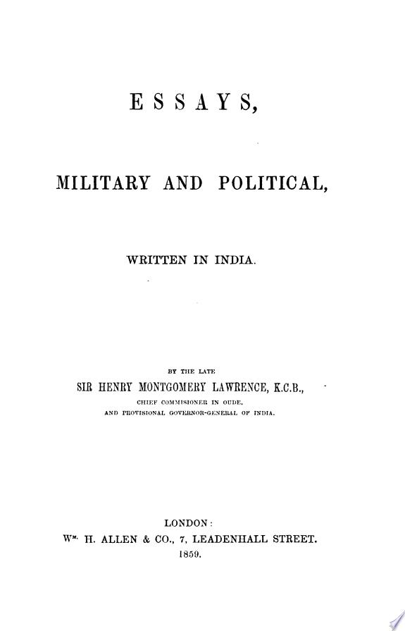 Essays, military and political, wri