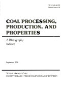Coal Processing  Production  and Properties  Indexes Book