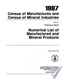 1987 Census Of Manufactures And Census Of Mineral Industries