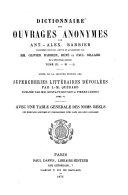 Dictionnaire des Ouvrages Anonymes par Antoine-Alexandre Barbier0