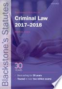 Blackstone's Statutes on Criminal Law 2017-2018