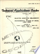 A Selected Annotated Bibliography of Environmental Studies of Israel (1960-1969)