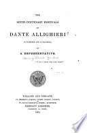 The Sixth Centenary Festivals of Dante Allighieri in Florence and at Ravenna