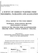A Survey of German Wartime Food Processing  Packaging and Allocation Book