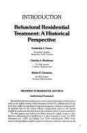 Behavior Analysis and Therapy in Residential Programs