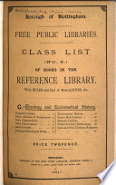 Class List of the Books in the Reference Library
