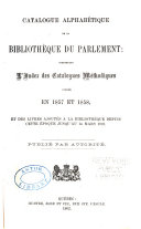 Alphabetical Catalogue of the Library of Parliament