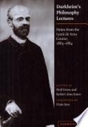 Durkheim s Philosophy Lectures