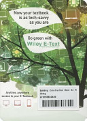 Building Construction Illustrated, Fourth Edition Wiley E-Text Card