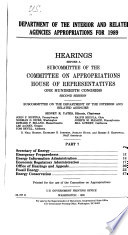 Department of the Interior and Related Agencies Appropriations for 1989  Secretary of Energy