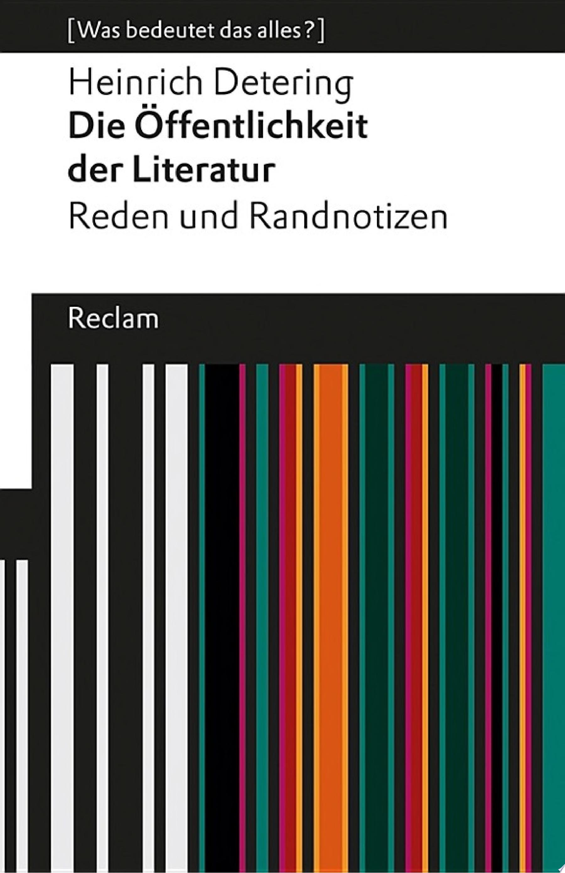 Die   ffentlichkeit der Literatur