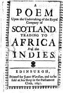 A Poem upon the undertaking of the Royal Company of Scotland, etc