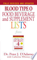 Blood Type O Food  Beverage and Supplement Lists Book