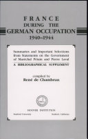 Pdf France During the German Occupation, 1940 - 1944: A Bibliographical Supplement
