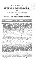 Galignani s Weekly Repertory Or Literary Gazette and Journal of the Belles Lettres