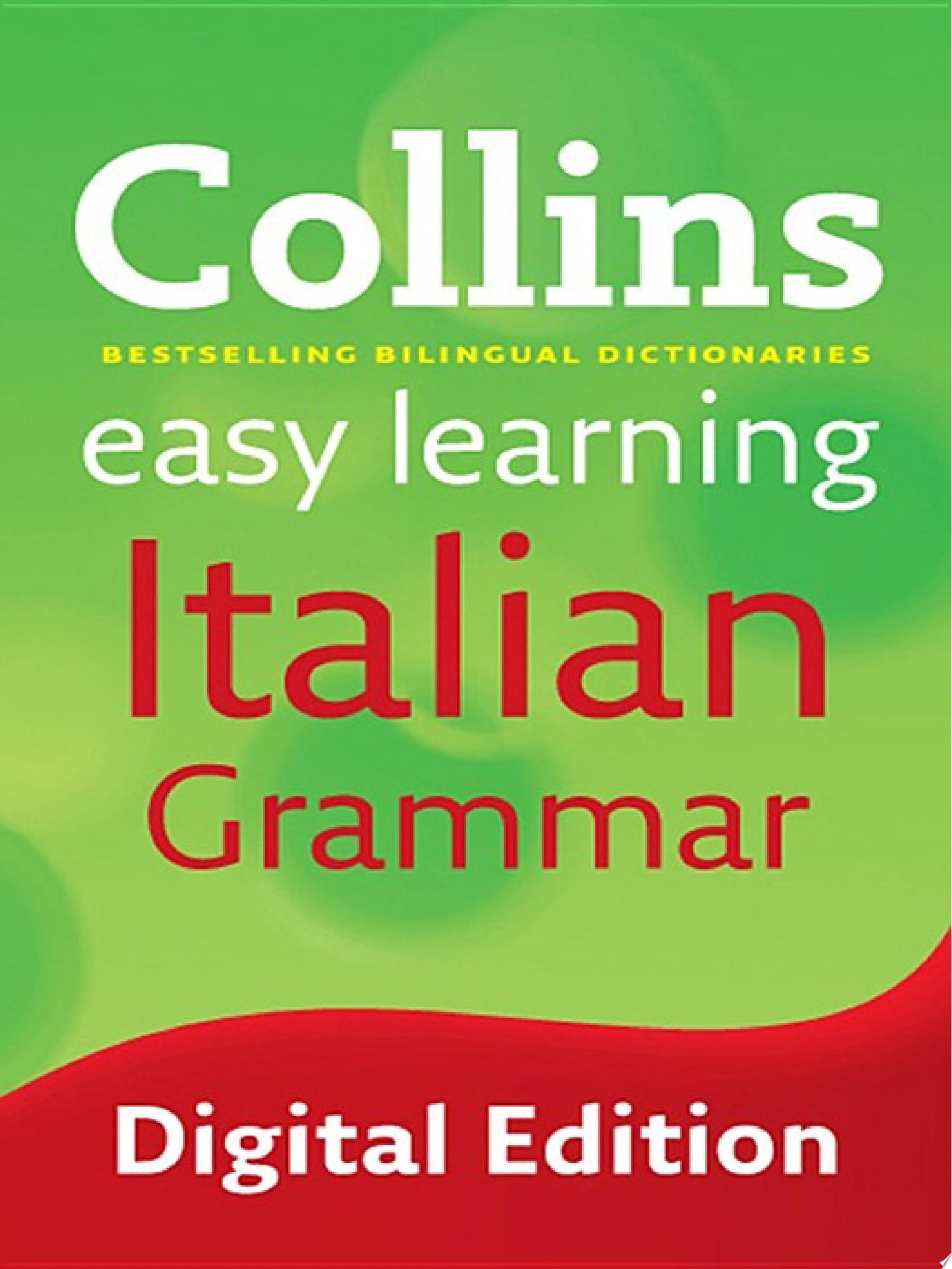 Easy Learning Italian Grammar  Collins Easy Learning Italian