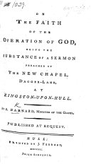 On the Faith of the Operation of God,