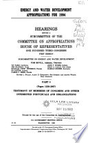 Energy and Water Development Appropriations for 1994
