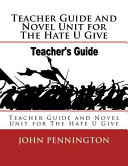 Teacher Guide And Novel Unit For The Hate U Give Book