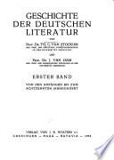 Geschichte der deutschen Literatur: Bd. Von den Anfängen bis zum 18. Jahrdundert