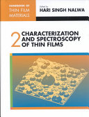 Handbook Of Thin Film Materials Characterization And Spectroscopy Of Thin Films Book PDF