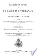 Documentary History of Education in Upper Canada, from the Passing of the Constitutional Act of 1791 to the Close of Dr. Ryerson's Administration of the Education Department in 1876: 1836-1840