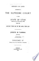 Report of Cases Decided in the Supreme Court of the State of Utah