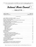 Bulletin National Music Council