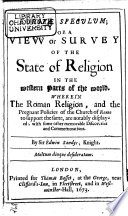 Europae Speculum Or A View Or Survey Of The State Of Religion In The Western Parts Of The World