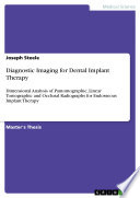Diagnostic Imaging for Dental Implant Therapy