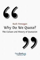 Why Do We Quote? Pdf/ePub eBook