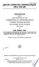 Military Construction Appropriations for Fiscal Year 2004 Book