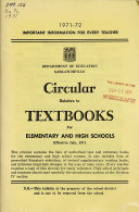 Circular Relative to Textbooks for Elementary and High Schools Book