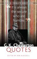 G. K. Chesterton Quotes [Pdf/ePub] eBook