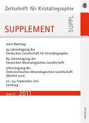 19 Jahrestagung Der Deutschen Gesellschaft F R Kristallographie September 2011 Salzburg Austria