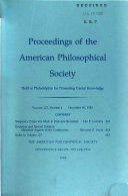 Proceedings, American Philosophical Society (vol. 127, No. 6, 1983)