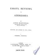 Essays, Reviews, and Addresses
