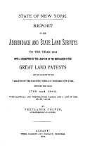 Pdf Report on the Adirondack and State Land Surveys to the Year 1884